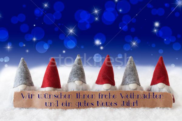 Kék bokeh csillagok boldog új évet címke szöveg Stock fotó © Nelosa