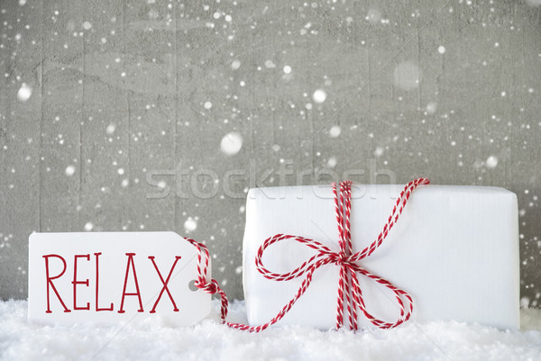 Gift, Cement Background With Snowflakes, Text Relax Stock photo © Nelosa