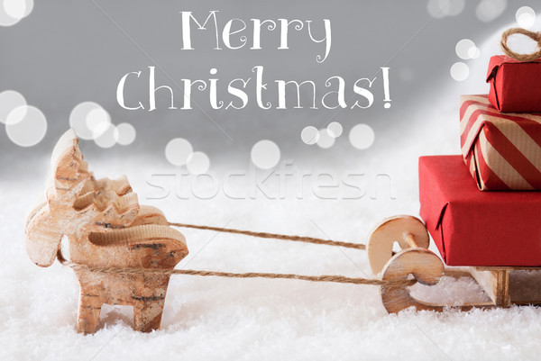Reindeer With Sled, Silver Background, White Text Merry Christma Stock photo © Nelosa