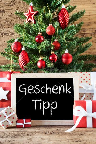Colorido árvore de natal dom ponta quadro-negro texto Foto stock © Nelosa