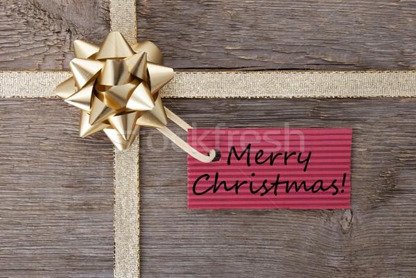 Stockfoto: Vrolijk · christmas · Rood · label · gouden · boeg
