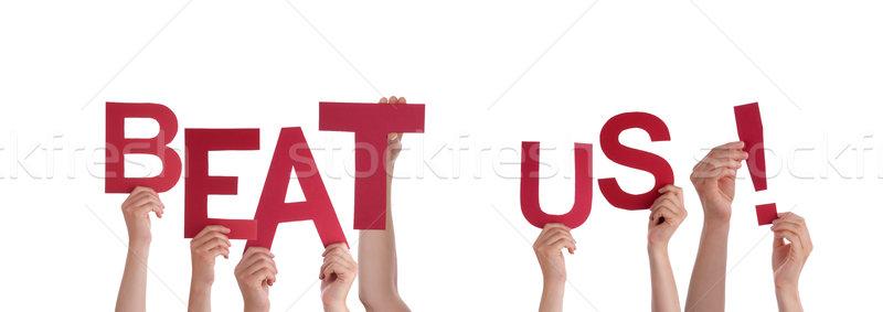 Mãos bater muitos vermelho palavras Foto stock © Nelosa