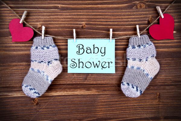 Bébé douche étiquette mots bleu chaussettes Photo stock © Nelosa