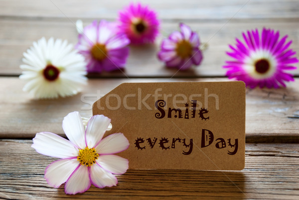 Label With Life Quote Smile Every Day With Cosmea Blossoms Stock photo © Nelosa