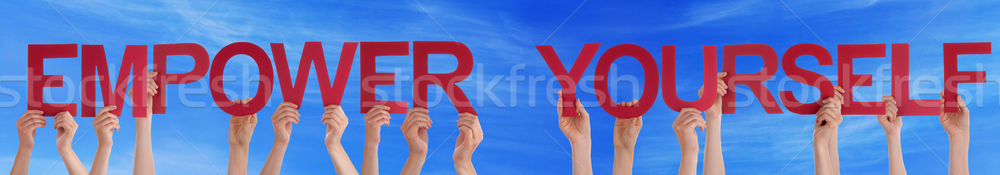 Hands Hold Red Straight Empower Yourself Blue Sky Stock photo © Nelosa