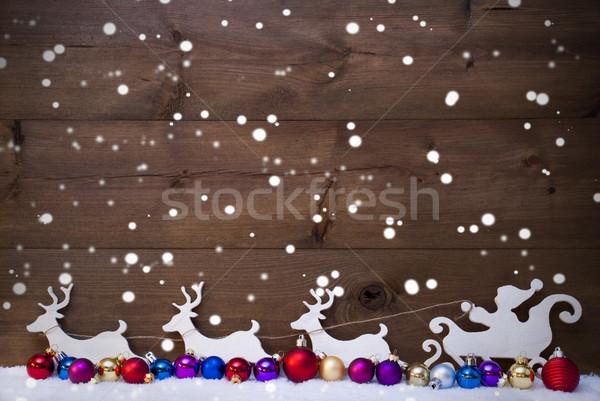 Santa Claus Sled With Reindeer,Snow, Christmas Balls, Snowflakes Stock photo © Nelosa