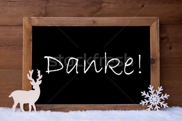 Christmas Card, Blackboard, Snow, Reindeer, Danke Mean Thank You Stock photo © Nelosa