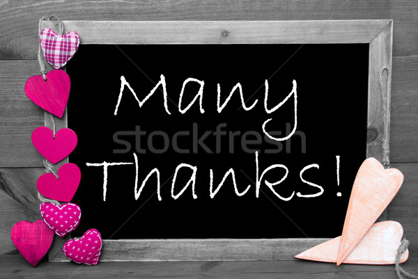 Feketefehér rózsaszín szívek sok köszönet tábla Stock fotó © Nelosa