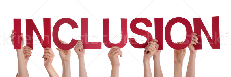 Many People Hands Holding Red Straight Word Inclusion Stock photo © Nelosa