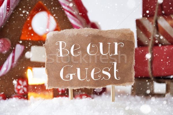 Peperkoek huis sneeuwvlokken tekst gast landschap Stockfoto © Nelosa