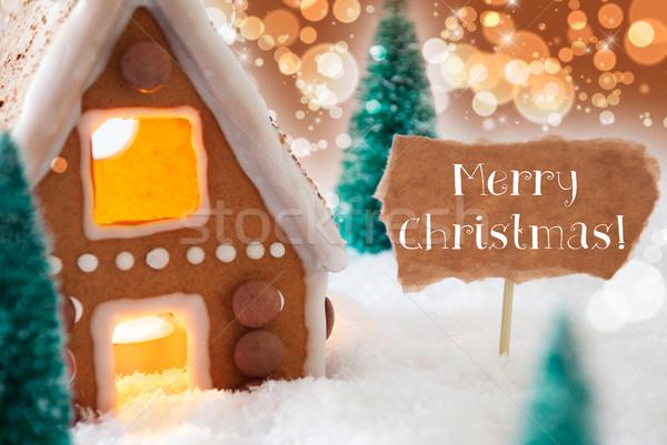 Mézeskalács ház bronz szöveg vidám karácsony Stock fotó © Nelosa
