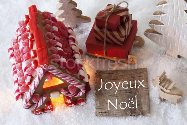 Gingerbread House, Sled, Snow, Joyeux Noel Means Merry Christmas Stock photo © Nelosa