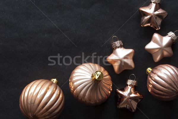 Bronz karácsonyfa golyók copy space fekete papír Stock fotó © Nelosa