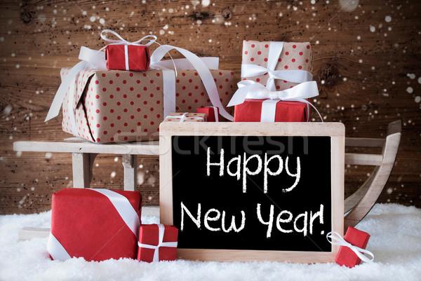 Slitta regali neve fiocchi di neve testo buon anno Foto d'archivio © Nelosa