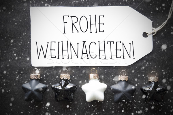 Black Balls, Snowflakes, Frohe Weihnachten Means Merry Christmas Stock photo © Nelosa