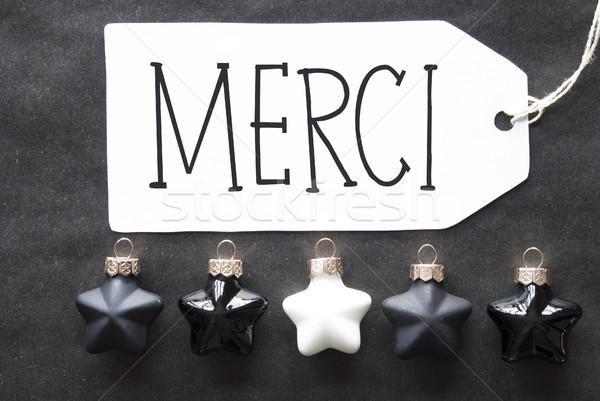Black Christmas Tree Balls, Merci Means Thank You Stock photo © Nelosa