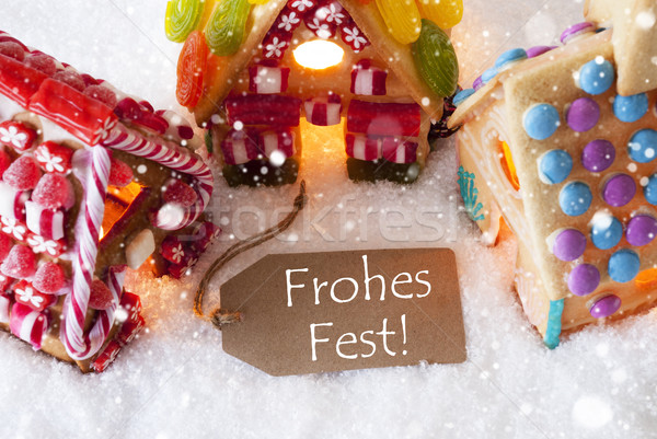 Colorful Gingerbread House, Snowflakes, Frohes Fest Means Merry Christmas Stock photo © Nelosa