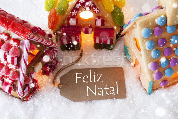 Colorful Gingerbread House, Snowflakes, Feliz Natal Means Merry Christmas Stock photo © Nelosa