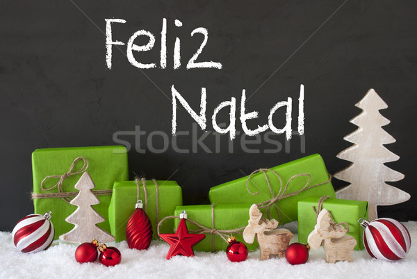 Decoration, Cement, Snow, Feliz Natal Means Merry Christmas Stock photo © Nelosa