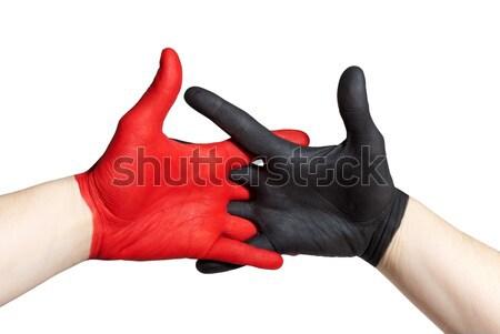 Rouge noir main peint travail d'équipe coalition Photo stock © Nelosa