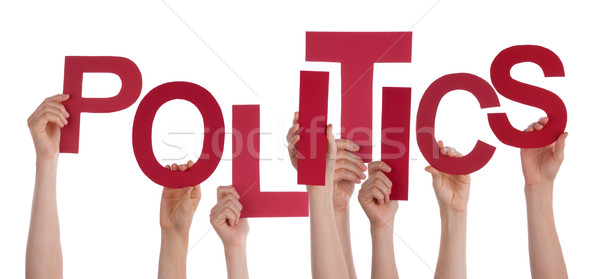 Many People Hands Holding Red Word Politics  Stock photo © Nelosa
