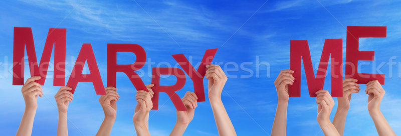 People Hands Holding Red Word Marry Me Blue Sky Stock photo © Nelosa