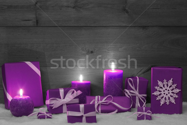 Christmas Decoration With Pruple Candles, Presents And Snow Stock photo © Nelosa