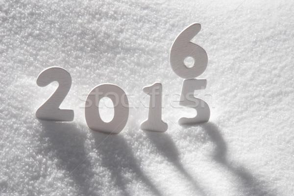 белый Рождества слово 2016 2015 снега Сток-фото © Nelosa