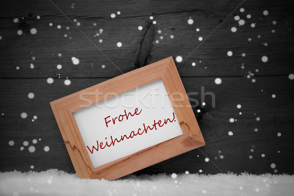 Frame, Frohe Weihnachten Means Merry Christmas, Snow, Snowflakes Stock photo © Nelosa