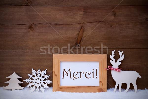 White Decoration On Snow, Text Merci Means Thank You Stock photo © Nelosa