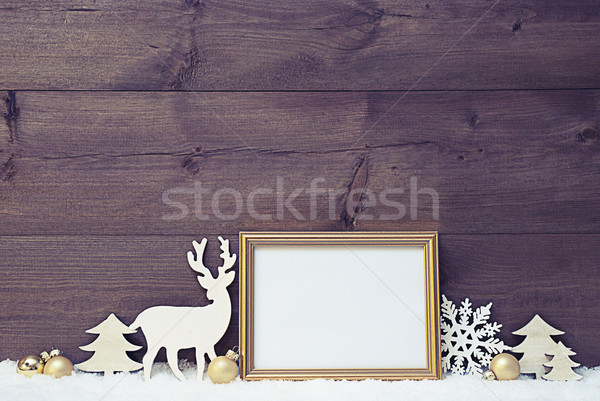 Vintage Christmas Card On Snow With Copy Space Stock photo © Nelosa