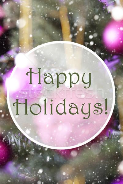 Blurry Vertical Rose Quartz Balls, Text Happy Holidays Stock photo © Nelosa