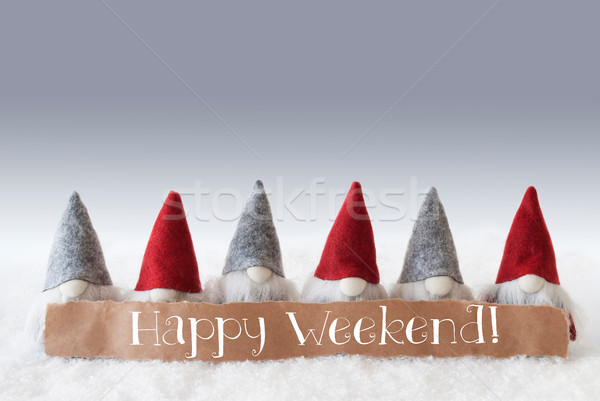 Gnomes, Green Background, Text Happy Weekend Stock photo © Nelosa