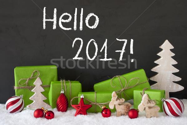 Christmas dekoracji cementu śniegu tekst Hello Zdjęcia stock © Nelosa
