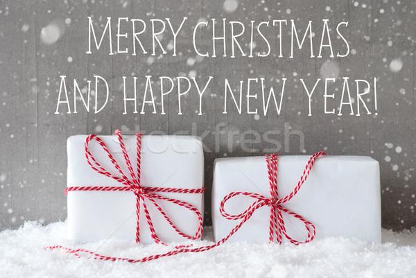 Сток-фото: два · подарки · веселый · Рождества · с · Новым · годом