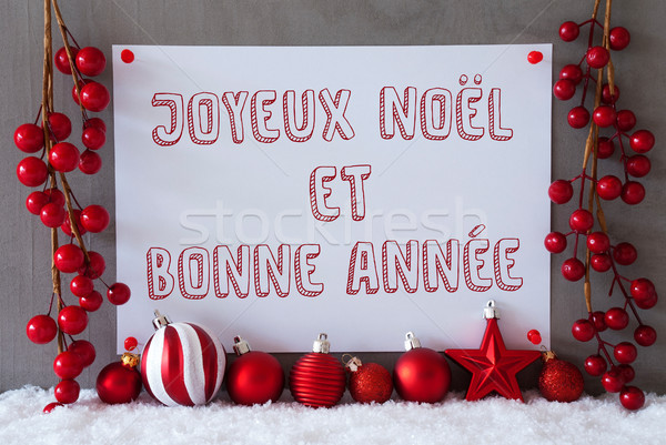 Stock photo: Label, Snow, Christmas Balls, Bonne Annee Means New Year