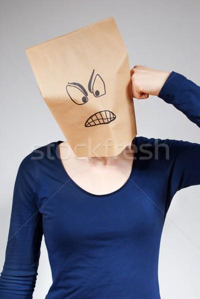Kişi öfkeli bakıyor kadın maske çanta Stok fotoğraf © Nelosa