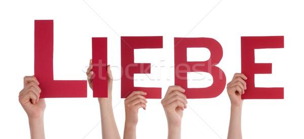 Handen woord Rood brieven liefde Stockfoto © Nelosa