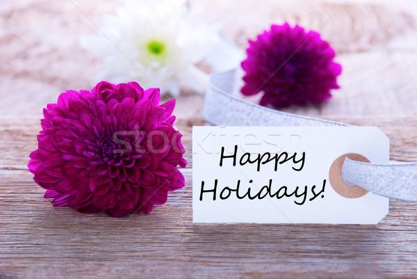 Сток-фото: Label · счастливым · праздников · древесины · Purple · цветы