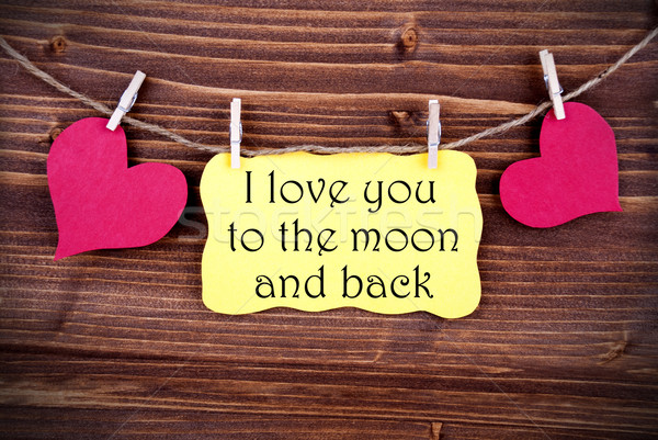 Yellow Label With I Love You To The Moon And Back Stock photo © Nelosa