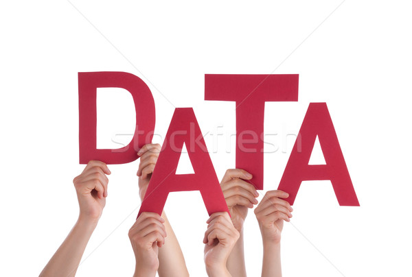 Many People Hands Holding Red Word Data Stock photo © Nelosa