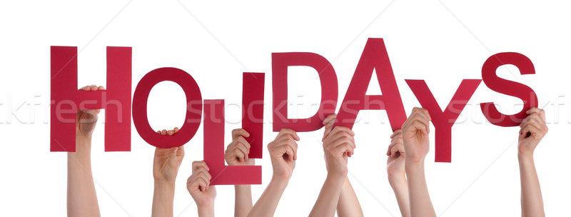Foto stock: Muitos · pessoas · mãos · vermelho · palavra