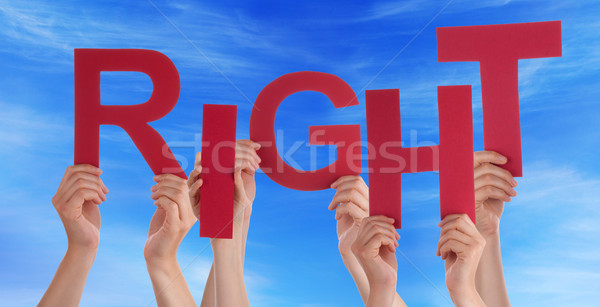 Many People Hands Hold Red Word Respect Blue Sky Stock photo © Nelosa
