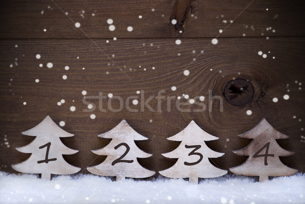 Christmas Tree, Snow, Copy Space, Four Number, Advent, Snowflake Stock photo © Nelosa