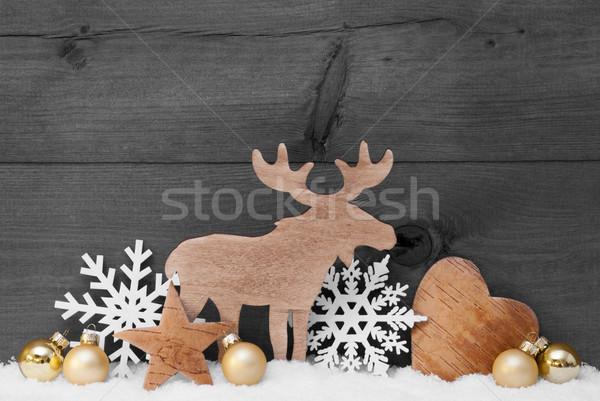 Golden Gray Christmas Decoration, Snow, Moose, Hear, Snowflake Stock photo © Nelosa