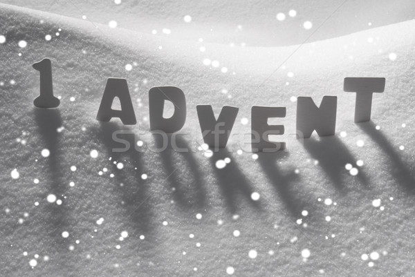 White Word 1 Advent Means Christmas Time On Snow, Snowflakes Stock photo © Nelosa