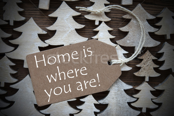 Brown Christmas Label With Home Is Where You Are Stock photo © Nelosa