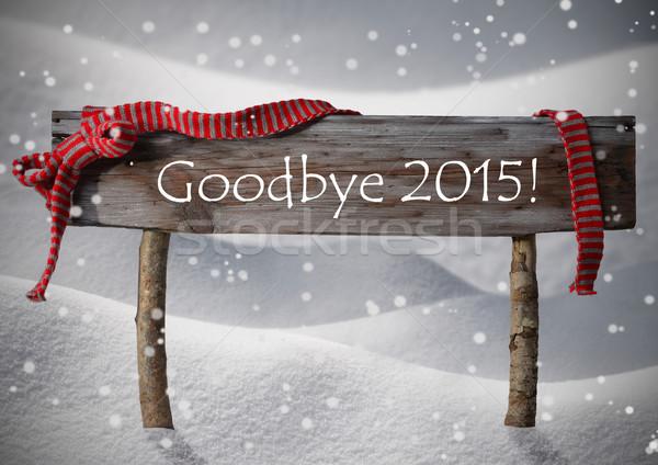 Brown Christmas Sign Goodybe 2015, Snow, Red Ribbon, Snowflake Stock photo © Nelosa