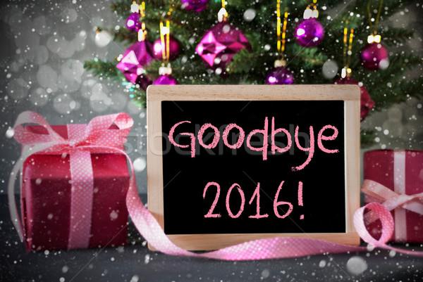 Boom geschenken sneeuwvlokken bokeh tekst vaarwel Stockfoto © Nelosa