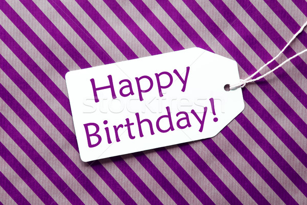 Label On Purple Wrapping Paper, Text Happy Birthday Stock photo © Nelosa